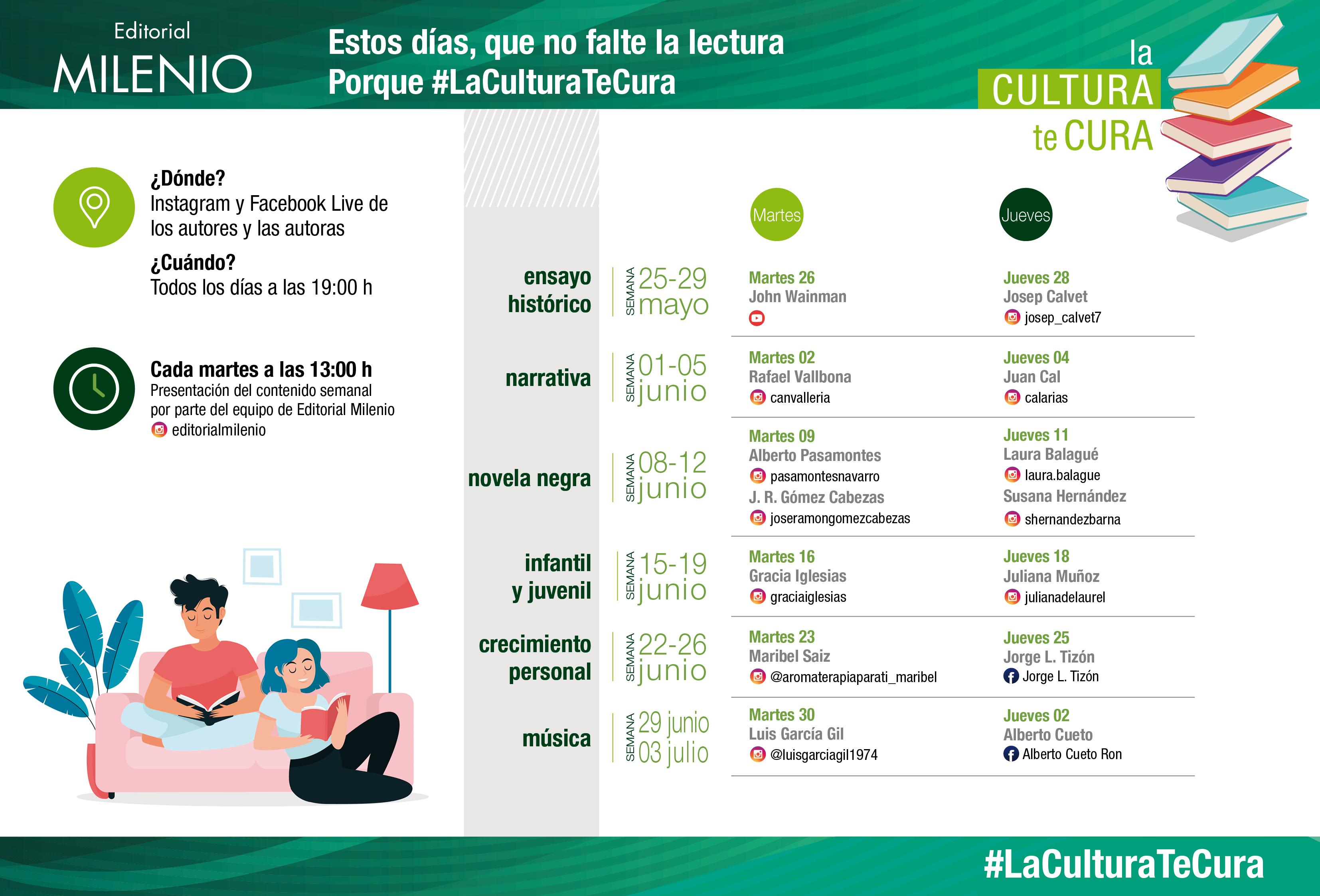 Editorial Milenio pone en marcha la campaña de promoción de la lectura #LaCulturaTeCura